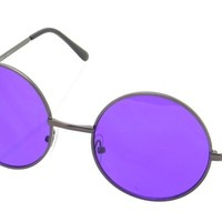 Vintage 60s Style Sunglasses Round Colored Lenses Wire Frames (Purple)