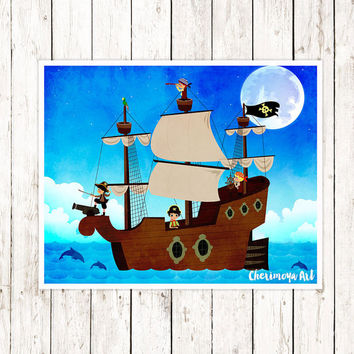 Pirates Wall Art Decor Kids Room Boys Print Art Nautical Art Decor for Boys Room Nursery wall Art Decor Kids Playroom Wall Art Gift for Him