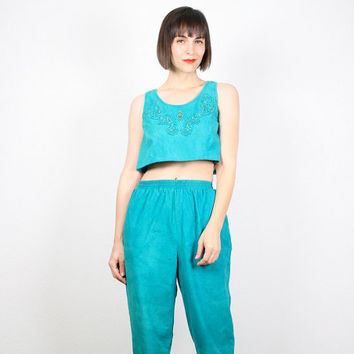 Vintage Crop Top Harem Pants Set Matching Outfit Matching Set Teal Green Cropped Tank Top High Waisted Skinny Tapered Leg Pants Set S Small