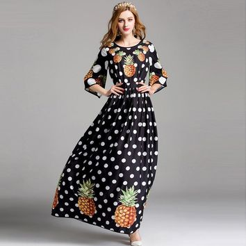 half flare sleeve pineapple dot print long dress floor length halter Elegant maxi dress