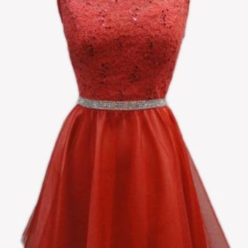 Coral Short Homecoming Dress Lace Bodice Embellished Waist