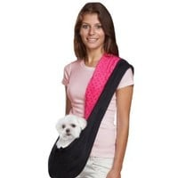 East Side Collection Reversible Sling Pet Carriers  -  Brightly Colored Polyester Over-the-Shoulder Carriers for Small Dogs, Black and Pink