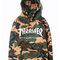 """THRASHER"" Fashion Unisex Lover Pattern Multicolor Letter Print Loose Long Sleeve Sweatshirt Hoodie"