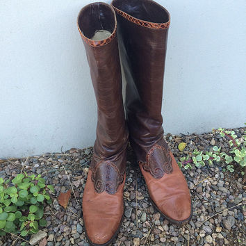 Vintage 7.5M genuine soft leather Andrea Pfister snakeskin two tones brown caramel cowboy western country tall boots