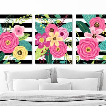 Flower Bouquet Wall Art, Girl Flower Bedroom Wall Decor CANVAS or Prints, Black Stripe Colorful Flower Wall Art, Set of 3 Flower Artwork