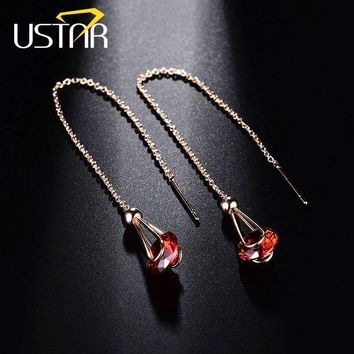 ESBONFI USTAR NEW Red 2.0 ct Zircon Drop Earring for Women Austria Crystal Rose gold color long chain female Earrings Jewelry brincos