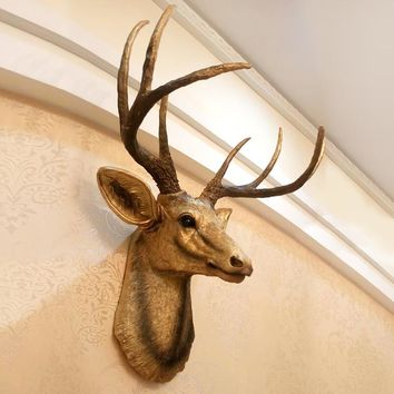 The American deer head ornament decorative wall hanging retro Home Furnishing animal living room wall