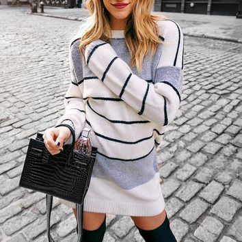 Fashion Women Casual Stripe Deep Long Sleeve Round Collar Knit Dress