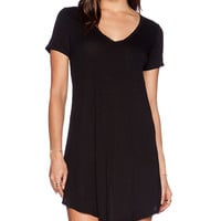 Heather V Neck Pocket Tee Dress in Black