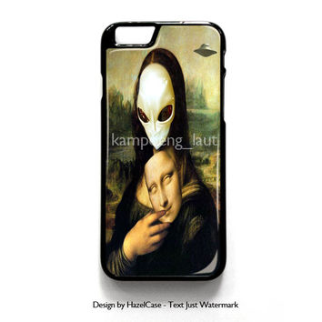 Mona Lisa Alien for iPhone 4 4S 5 5S 5C 6 6 Plus , iPod Touch 4 5  , Samsung Galaxy S3 S4 S5 Note 3 Note 4 , and HTC One X M7 M8 Case Cover