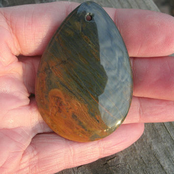 Polychrome Jasper Teardrop Pendant Stone, polished and drilled for DIY jewelry design, semi precious, blue/gray tones, brown/yellow tones