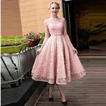 New Arrival Pink Lace Prom Dress,Tea Length Homecoming Dress With Cap Sleeve