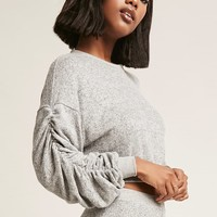 Heathered Knit Ruched Sweater - Women - 2000254733 - Forever 21 Canada English