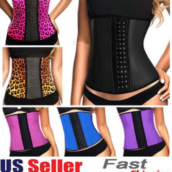 Latex waist cincher Sport latex Waist training corsets 9 steel bone corset slimming gaine amincissante waist trainer girdle Belt