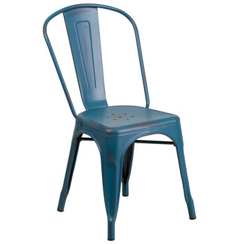 Distressed Kelly Blue Metal Indoor-Outdoor Stackable Chair