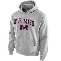 Ole Miss Rebels Midsize Arch Over Logo Hoodie – Gray