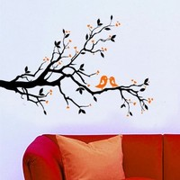 WallStickersUSA Contemporary Wall Sticker Decal, Tree Branches, Leaves, Lovebirds, and Hearts, X-Large:Amazon:Baby