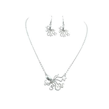 Ocean Dream Mystic Octopus Kraken Sea Creature Octopus Necklace & Earrings Set