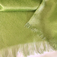 Green Curtain Panels 38 x 79 70s Curtains Fringe Curtain Green Decor Retro Curtain Living Room Curtain 1970s Decor Bedroom Curtain