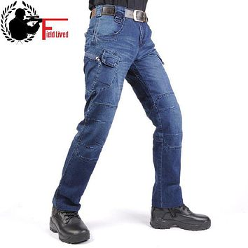 JEANS MEN 2016 Cargo Elastic Waist Jean Pants High Quality Tactical Denim Multi Pocket Male Trouser Cargo Skinny Jeans for Men