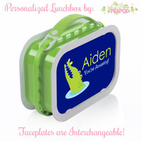 Alligator Lunchbox - Personalized Lunchbox with Interchangeable Faceplates - Double-Sided Green and Navy Blue Alligator Lunchbox