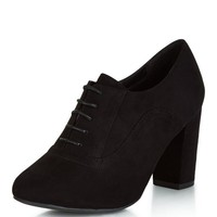 Wide Fit Black Suedette Lace Up Shoe Boots