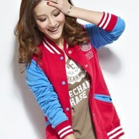 Womens 2012 Collection Varsity Baseball Jacket Red Blue