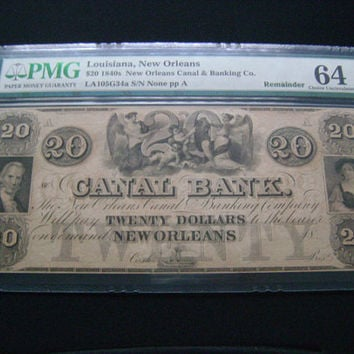 1840s Canal Bank 20 Dollars New Orleans Louisiana Obsolete Currency Banknote Remainder PMG Graded 64 Gem Uncirculated Antique Paper Money
