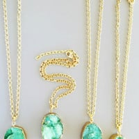 Mint Druzy Necklace - 24K Gold Plated
