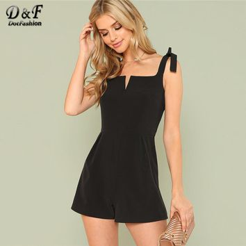 Dotfashion V Cut Solid Romper With Tied Strap 2018 Summer Mid Waist Sleeveless Romper Women Plain Black Elegant Romper