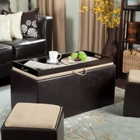 Walmart: Garrett Coffee Table Storage Ottoman  with Tray and Side Ottomans