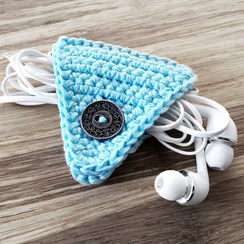 Blue Crochet Cord Holder, Headphone Organizer, Earbud Organizer, Smartphone Accessory, Earphone Cord keeper, Headphone USB Winder