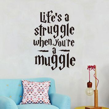 """Life is a struggle..."" Harry Potter Wall Vinyl Stickers Quotes Decal"
