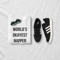 World's okayest napper t shirt for womens graphic tee white tshirt cute tumblr shirts fashion girls ladies styles instagram teenager tops