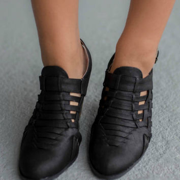 Point Taken Black Distressed Booties