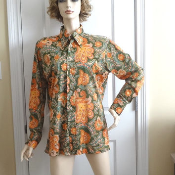 1970s Vintage Men's Colorful Paisley Shirt by Designers Choice, Size Large, Orange, Green, Turquoise Print, Polyester, Vintage Clothing