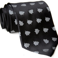 Porka Dot black necktie. Silkscreened pig polkadot men's tie. Choose standard, narrow, skinny or XL.