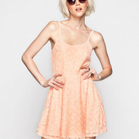 Full Tilt Lace Skater Dress Peach  In Sizes