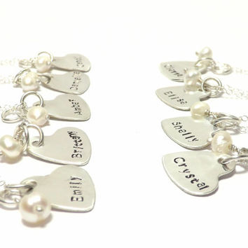 Sterling Silver Heart Personalized Name Necklace with Fresh Water Pearl, Keepsake Bridesmaid Jewelry