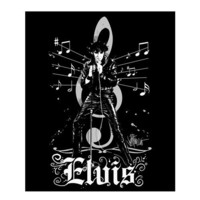 Elvis Back in Black Fleece Throw Blanket