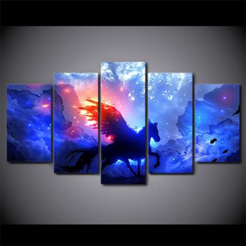 5 Pcs Abstract Unicorn Wall Art Canvas Panel Print Poster Picture  living room