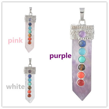 Rock Crystal Charm Flat Healing Point Sword Pendants with Seven Small Chakra Gemstones Pendulum Necklace Jewelry For Gifts = 1946268356