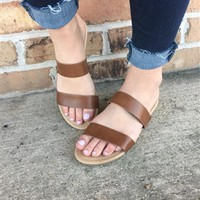 Double Strap Sandal-Brown