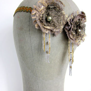 Shooting Stars - Handmade Flapper Headband - 1920s Headband with Metal Lace Flowers - Burlesque Headpiece - Tribal Fusion Headdress
