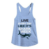 Shark Week-Female Athletic Blue Tank