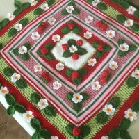 Crochet 3D Strawberry Blanket...Baby Blanket