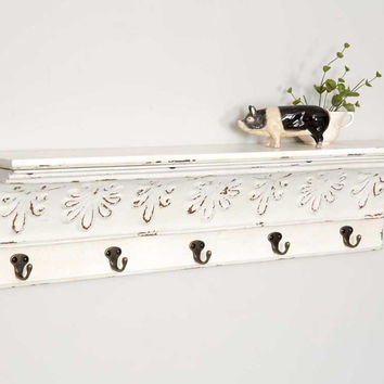 Bisque Shelf with Five Hooks - *FREE SHIPPING*