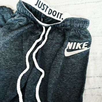 """NIKE"" Stylish Print Thick Sport Stretch Pants Trousers Sweatpants Gym Jogging Exercise Casual Sportswear Grey I"