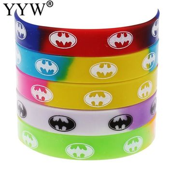 12mm silicone bracelet batman jewelry friend wristband bracelet bangle for men women rubber elastic cuff bracelets 6.5 Inch