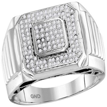 10kt White Gold Mens Round Pave-set Diamond Square Cluster Ring 1/3 Cttw